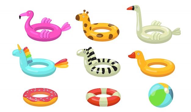 Set di icone piatte di anelli di nuoto