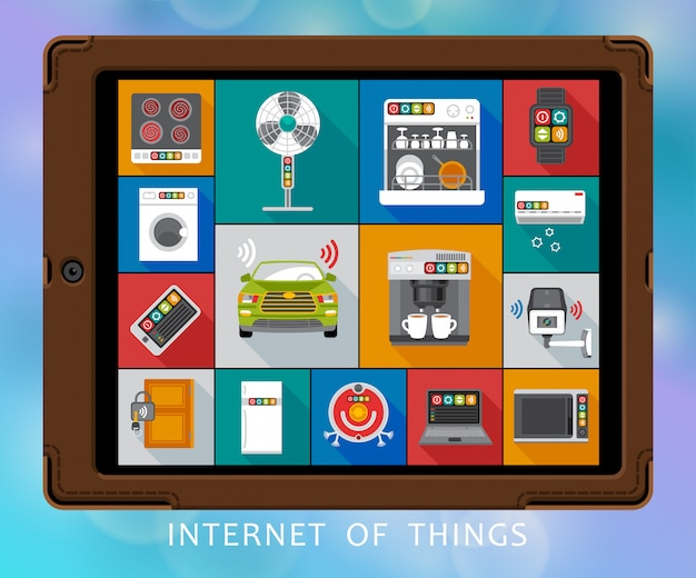 Set di icone piatte di internet of things