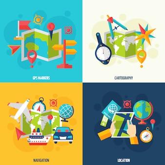 Set di icone piatte di navigazione e posizione