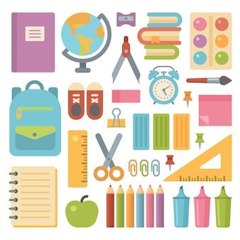 Set di icone piatte di oggetti di scuola
