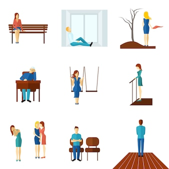 Set di icone piatte di persone solitarie