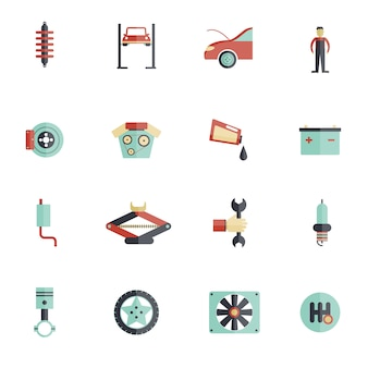 Set di icone piatte di servizio automatico