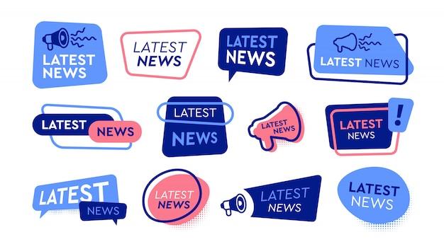 Set di icone piatte di ultime notizie etichette