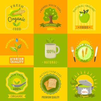 Set di icone piatte emblemi di cibo naturale