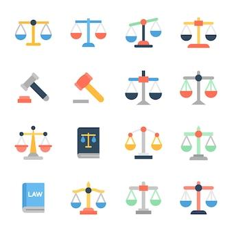 Set di icone piatte legge