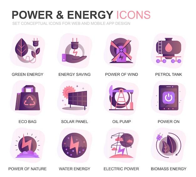 Set di icone piatte moderne di settore energetico ed energia gradiente