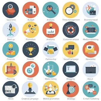 Set di icone piatte per affari e tecnologia