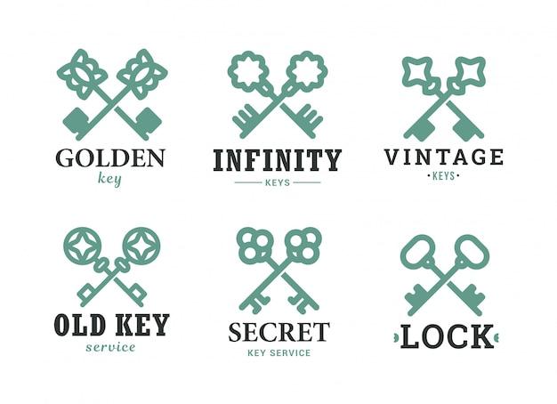 Set di icone piatto chiave decorata vintage