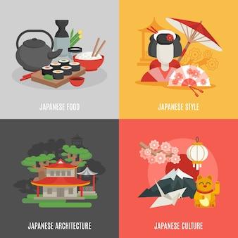 Set di icone piatto cultura giapponese