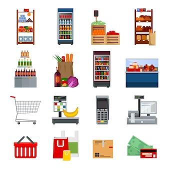 Set di icone piatto decorativo supermercato