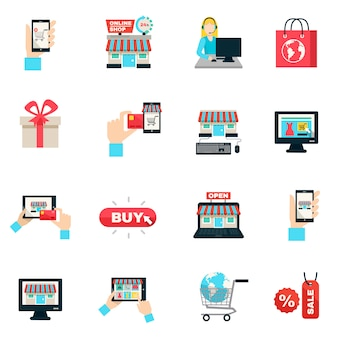 Set di icone piatto di internet shopping