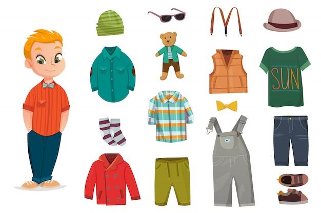 Set di icone piatto moda bambino