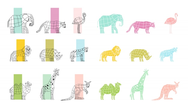Set di icone poligonali piatte di animali selvatici