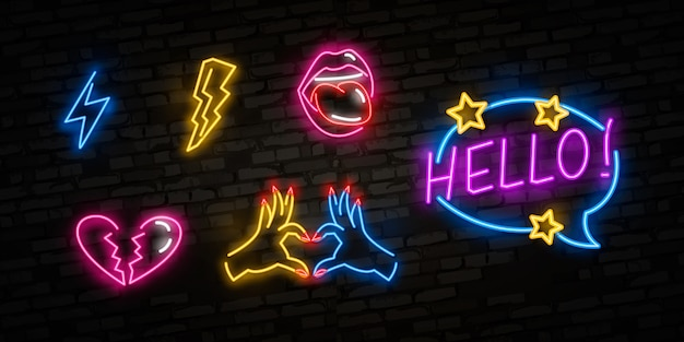 Set di icone pop art. insegna al neon pop art. insegna luminosa, insegna luminosa.