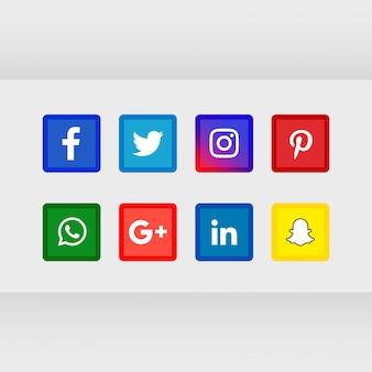 Set di icone popolari social media