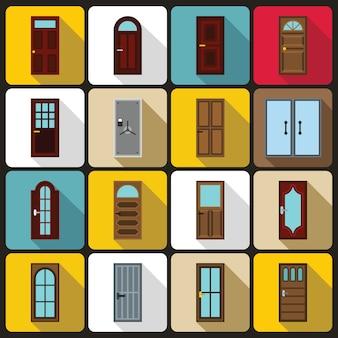 Set di icone porta, stile piatto