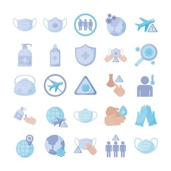 Set di icone prevenzione, protezione del coronavirus, icona di stile piano