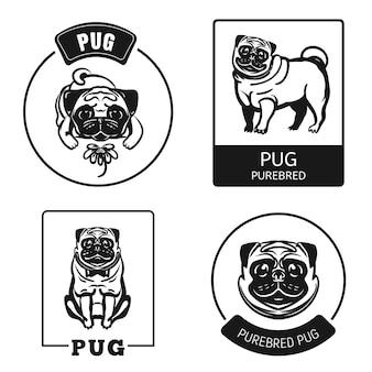 Set di icone pug. insieme semplice delle icone di vettore del carlino per web design su fondo bianco