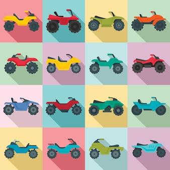 Set di icone quad bike, stile piano