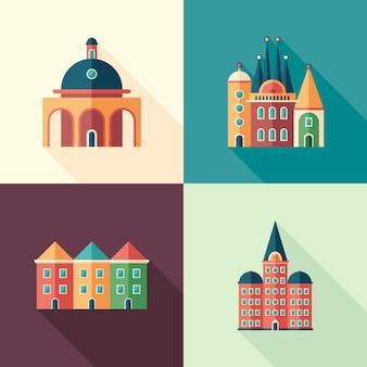 Set di icone quadrate piatte di edifici colorati con lunghe ombre.