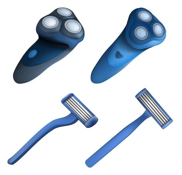 Set di icone rasoio rasoio. insieme realistico delle icone di vettore del rasoio del rasoio per il web design
