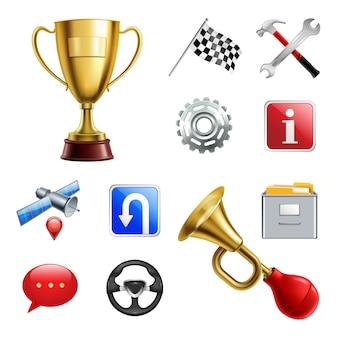 Set di icone realistiche gioco di corse