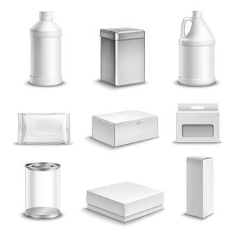 Set di icone realistiche pacchetto prodotto