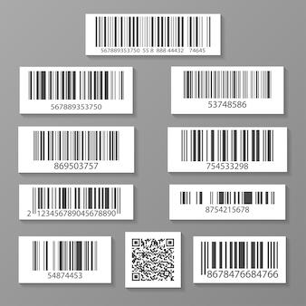 Set di icone realistico codice a barre