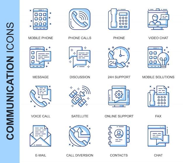 Set di icone relative alla comunicazione su linea sottile