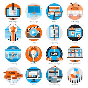 Set di icone rotonde di lavoro online creativo