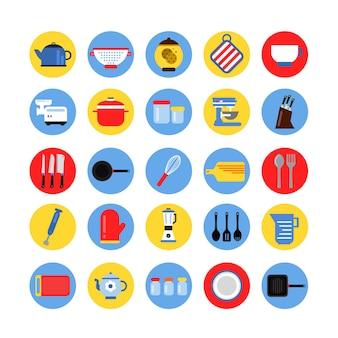 Set di icone rotonde di utensili da cucina in cerchi colorati. raccolta vettoriale
