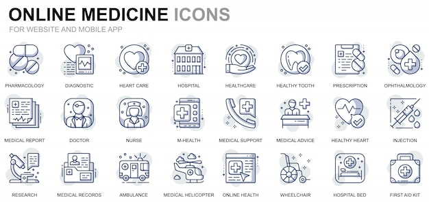 Set di icone sanitarie e mediche di linea semplice per applicazioni per siti web e dispositivi mobili