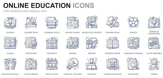 Set di icone semplici di istruzione e conoscenza per siti web e applicazioni mobili