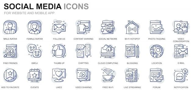 Set di icone semplici di social media e di linea di rete per siti web e app mobili