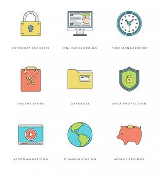 Set di icone semplici linea piatta. oggetti essenziali di vettore di colpo