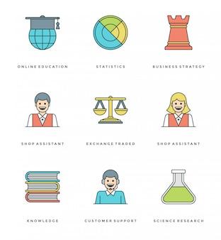 Set di icone semplici linea piatta. thin linear stroke essentials objects symbols