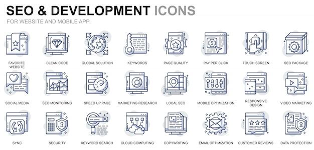 Set di icone seo e linea di sviluppo semplici per siti web e app mobili