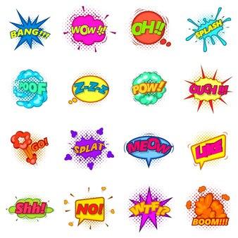 Set di icone set di nuvole comiche del suono