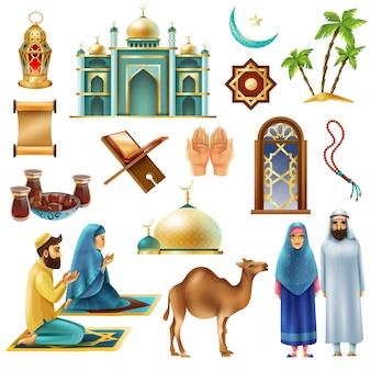 Set di icone simboli ramadan kareem mubarak