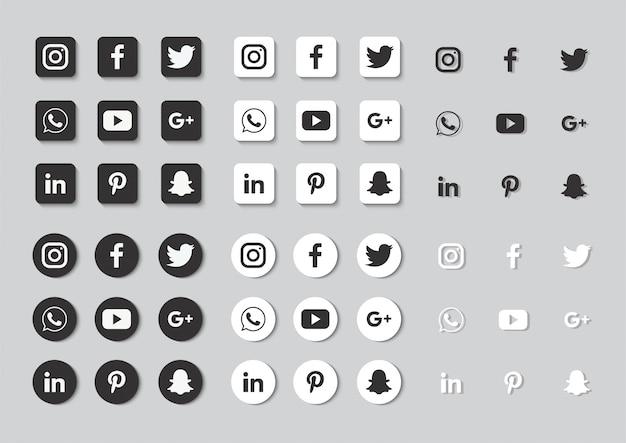 Set di icone social media isolato su sfondo grigio.