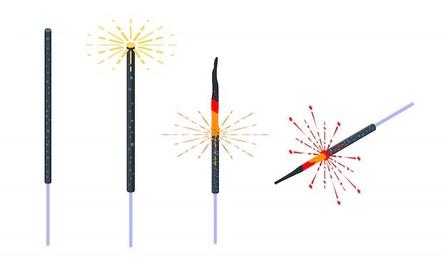 Set di icone sparkler, stile isometrico