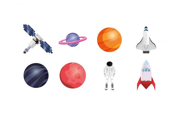 Set di icone spazio isolato