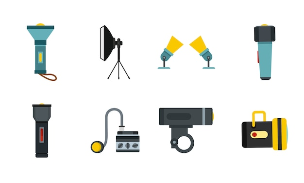 Set di icone spotlight. insieme piano della raccolta delle icone di vettore del riflettore isolato