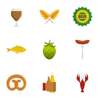 Set di icone spuntino birra. set piatto di 9 icone vettoriali di birra spuntino
