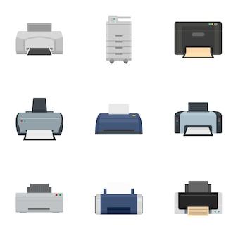 Set di icone stampante ufficio, stile piano