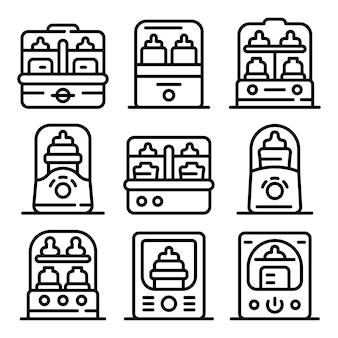 Set di icone sterilizzatore per bottiglie