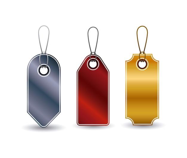 Set di icone tag appeso. sconto dell'offerta di prezzo e design del mercato. design isolato e colorato. vect