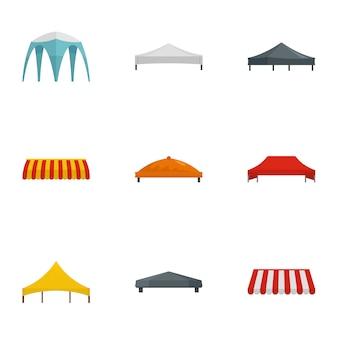 Set di icone tenda evento, stile piano