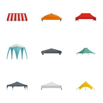 Set di icone tenda padiglione. set piatto di 9 icone tenda padiglione