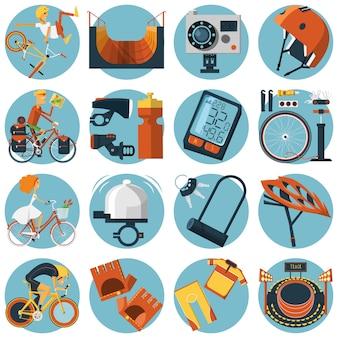 Set di icone tondo piatto in bicicletta
